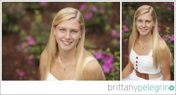 Beautiful senior portrait of Hannah taken at the WRAL Azalea Gardens in Raleigh, North Carolina
