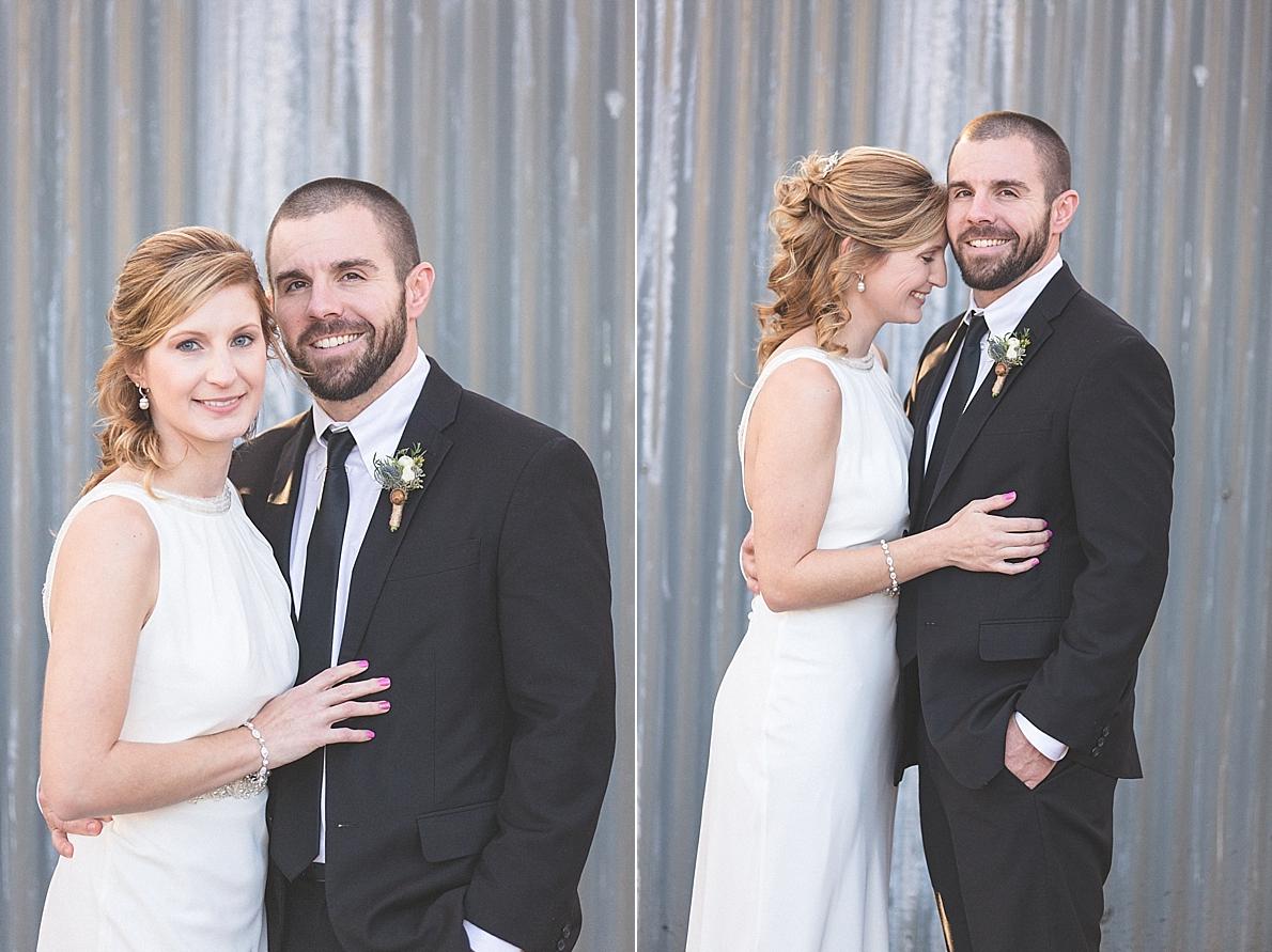 Creative bride and groom portrait in urban setting